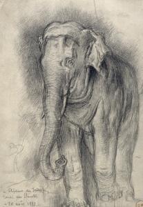 Eléphant sur le vif by Gustave Moreau