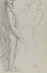 Etude d'homme de profil debout sur le pied droit d'après l'antique, étude de femme demi-nue bras by Gustave Moreau