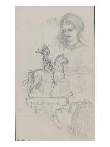 Feuille d'études : Jeanne d'Arc et têtes de femme by Gustave Moreau