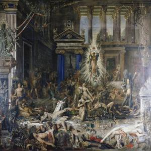 Les Pretendants. Started in 1852 by Gustave Moreau