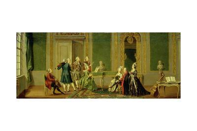 Gustavian Style Interior with a Musical Party-Pehr Hillestrom-Giclee Print