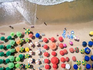 Top View of Umbrellas in a Beach by Gustavo Frazao