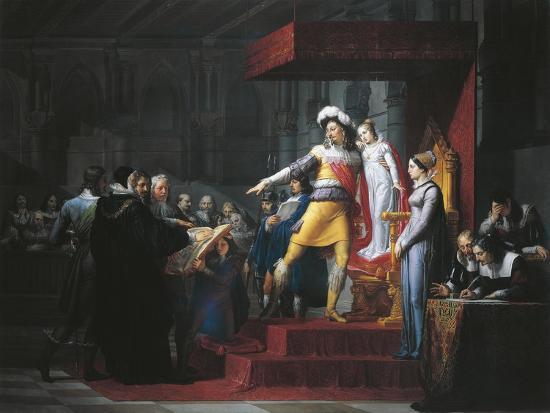 Gustavus II Adolphus Vasa Imposing Oath of Allegiance to His Daughter Cristina-Pelagio Palagi-Giclee Print