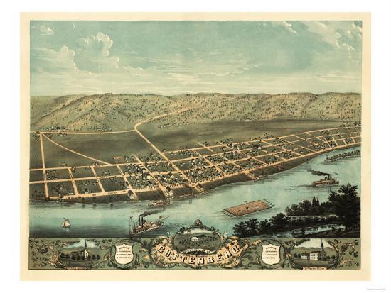 Guttenberg, Iowa - Panoramic Map-Lantern Press-Art Print