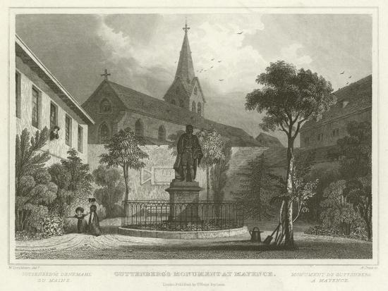 Guttenberg's Monument at Mayence-William Tombleson-Giclee Print