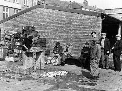 Gutting Fish Outside a Warehouse in Whitby, North Yorkshire, 1959--Photographic Print