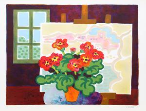 Red Flowers with Painting by Guy Charon