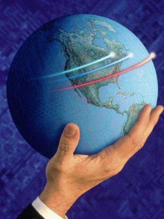 Businessman's Hand Holding Globe