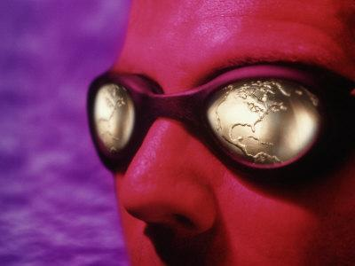 Man with Golden Globe Goggles