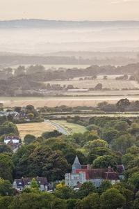 Michelham Priory Viewed at Dawn from Wilmington Hill, South Downs National Park, East Sussex, UK by Guy Edwardes