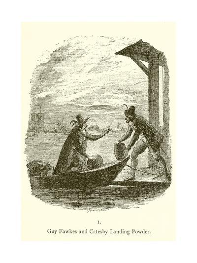 Guy Fawkes and Robert Catesby Landing Powder-George Cruickshank-Giclee Print