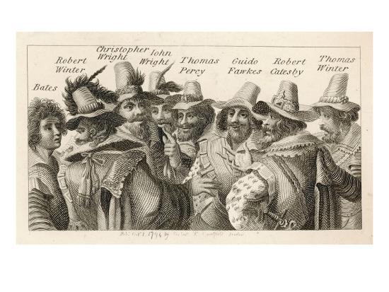 Guy Fawkes - English Gunpowder Plotter with Fellow Conspirators--Giclee Print