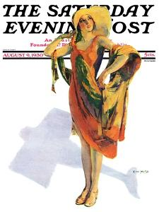 """""""Beach Costume,"""" Saturday Evening Post Cover, August 9, 1930 by Guy Hoff"""
