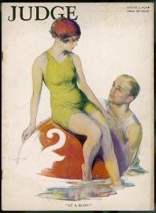 Lime Green Tank Style One- Piece Bathing Costume Worn with a Red Bathing Cap by Guy Hoff