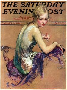 """Pastel Portrait,"" Saturday Evening Post Cover, January 24, 1931 by Guy Hoff"