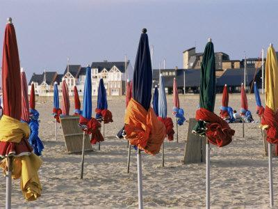 Beach and Rolled up Umbrellas, Deauville, Basse Normandie (Normandy), France