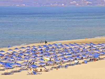 Beach and Sunshades on Beach at Giorgioupolis, Crete, Greek Islands, Greece, Europe