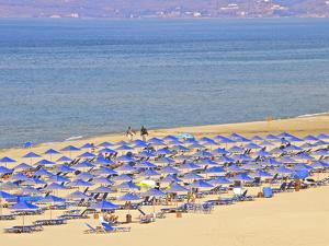 Beach and Sunshades on Beach at Giorgioupolis, Crete, Greek Islands, Greece, Europe by Guy Thouvenin