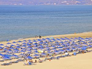 Beach and Sunshades on Beach at Giorgioupolis, Crete, Greek Islands, Greece, Europe by Guy Thouvenin