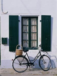 Bicycle Leaning Against a Wall, Ile De Re, France, Europe by Guy Thouvenin