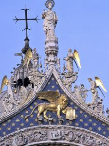 Detail of St. Mark's Basilica, Piazza San Marco (St. Mark's Square), Venice, Veneto, Italy by Guy Thouvenin
