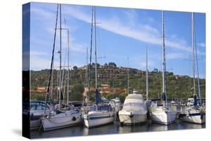 Marina and Perched Village, Ottiolu Harbour, Costa Degli Oleandri, Sardinia, Italy, Mediterranean by Guy Thouvenin