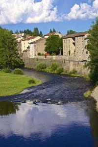 Medieval Village and Allier River, Lavoute Chilhac, Auvergne, Haute Loire, France, Europe by Guy Thouvenin