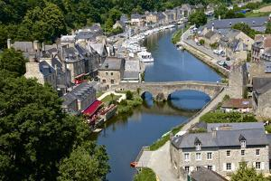 Rance River Valley and Dinan Harbour with the Stone Bridge, Dinan, Brittany, France, Europe by Guy Thouvenin