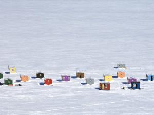 Overhead of Ice Fishing Huts by Guylain Doyle