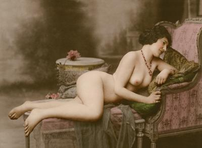 Reclining Nude - Classic Vintage Hand-Colored Tinted Erotic Art