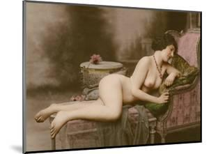 Reclining Nude - Classic Vintage Hand-Colored Tinted Erotic Art by GV Studio