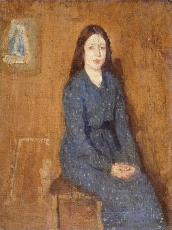 A Sitting Girl Wearing a Spotted Blue Dress, 1914-15 by Gwen John