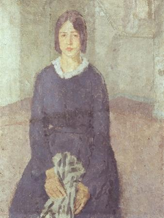 Girl in a Blue Dress Holding a Piece of Sewing by Gwen John