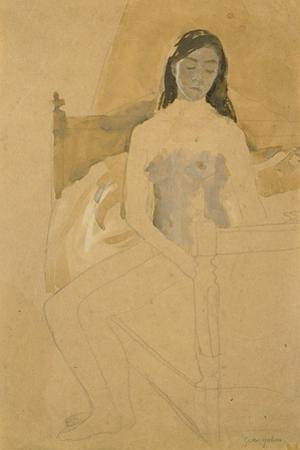 Self Portrait, Naked, Sitting on a Bed by Gwen John