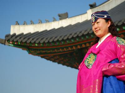 Gyeongbokgung Palace, Woman in Traditional Hanbok Dress, Gwanghwamun, Seoul, South Korea-Anthony Plummer-Photographic Print