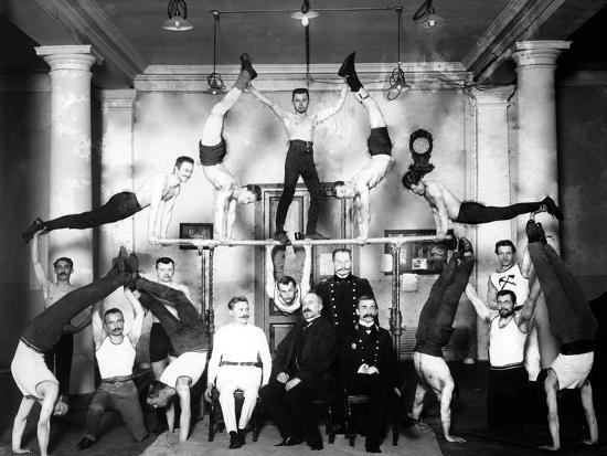 Gymnastic Students in a Pyramid Display, St  Petersburg Photographic Print  by | Art com