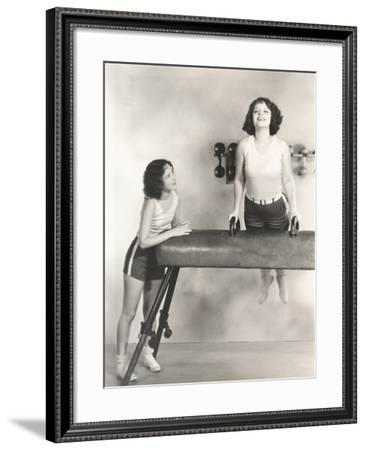 Gymnasts Taking Turns on Pommel Horse--Framed Photo