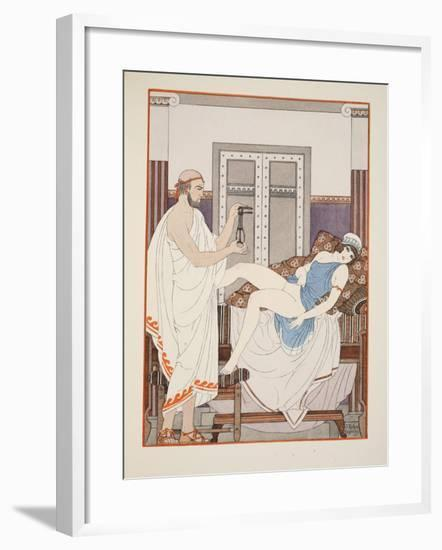 Gynaecological Examination, Illustration from 'The Works of Hippocrates', 1934 (Colour Litho)-Joseph Kuhn-Regnier-Framed Giclee Print