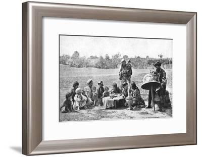 Gypsies Mending a Family Cauldron, Hungary, 1922-AW Cutler-Framed Giclee Print