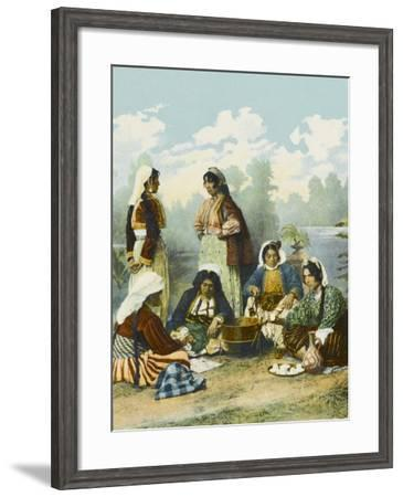 Gypsy Bohemian Women in Turkey Indulging in the 'High Life'--Framed Photographic Print