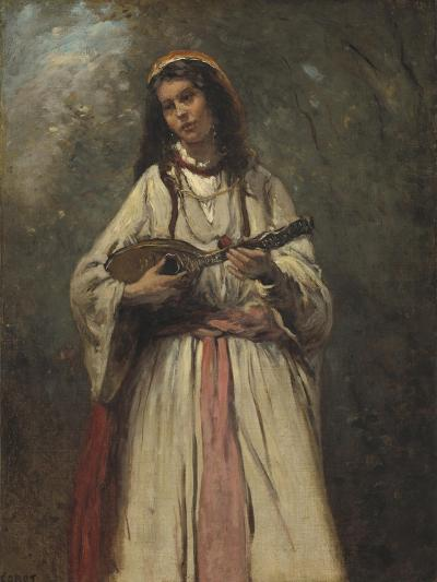 Gypsy Girl with Mandolin, c.1870-Jean-Baptiste-Camille Corot-Giclee Print