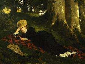 Reading Woman in Forest , 1875 by Gyula Benczur
