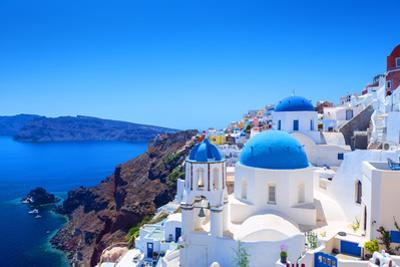 Village of Oia in Santorini by Gyula Gyukli
