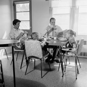 Family of Five Eating Breakfast at Kitchen Table by H^ Armstrong Roberts