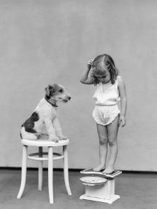 Girl Standing on Scales, Reading Weight, Terrier Dog Sitting on Stool by H. Armstrong Roberts