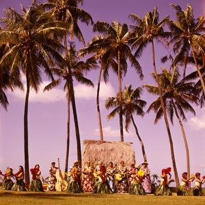 Hula Dancers Dancing Honolulu Hawaii Palm Trees Natives Retro by H^ Armstrong Roberts