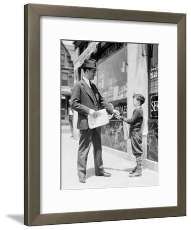 Newspaper Boy Selling Paper To Businessman, Philadelphia