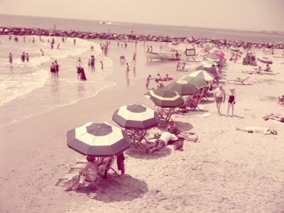 Summer Beach Scene, People Relaxing on Sandy Shore, New Jersey