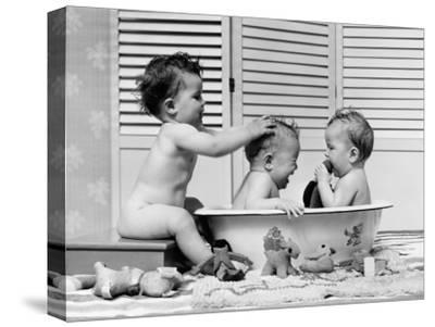 Three Babies in Wash Tub, Bathing