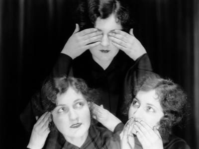 Triple Exposure of Girl in Hear No Evil, See No Evil, Speak No Evil Poses by H. Armstrong Roberts